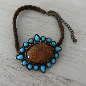 Braided suede bracelet with turquoise and stone